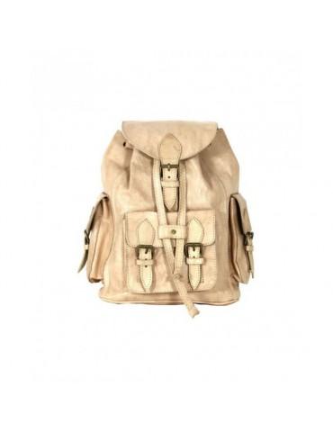 Beige natural leather backpack