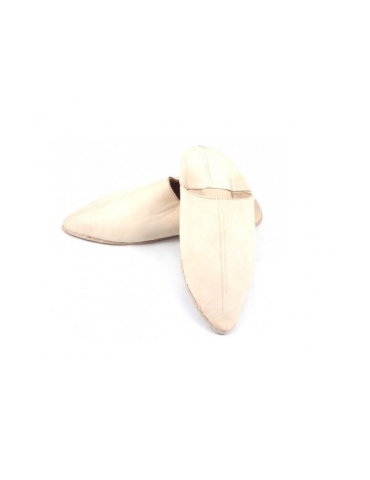 Beige real leather slipper