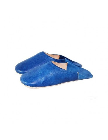 Slipper woman in blue leather