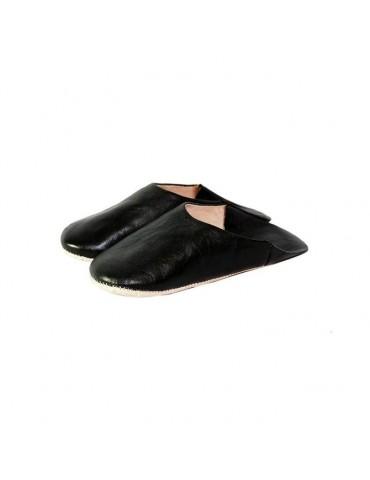 Slipper woman in black leather