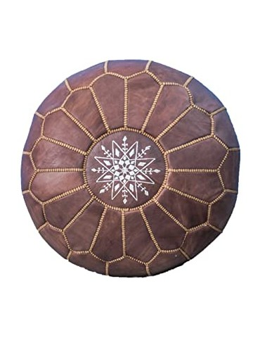 Natural leather pouf Brown