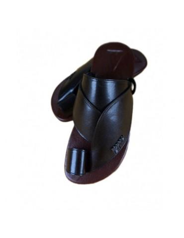 Natur læder sandal sort