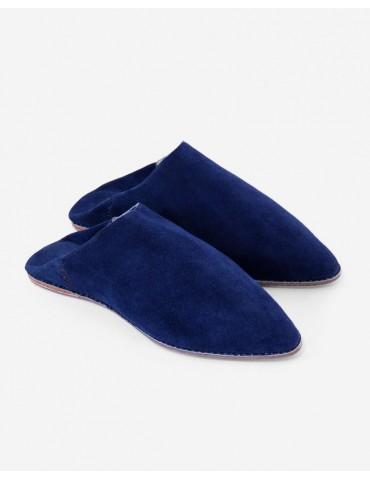 Tøfler i ægte blåt læder