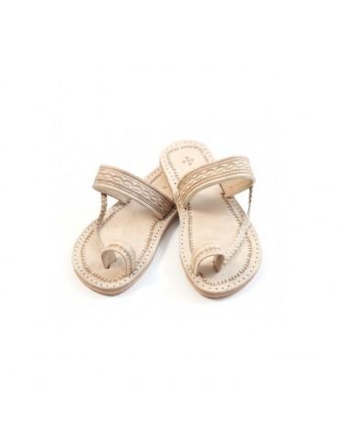 Handgjorda beige lädersandaler
